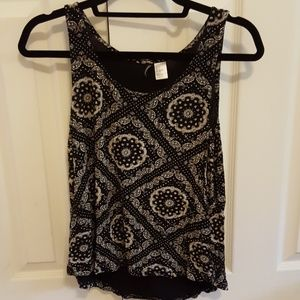 Black patterned sleeveless top